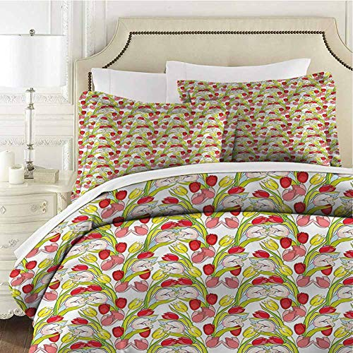 Tulip Bedding 3-Piece King Bed Sheets Set,Comforter Bedding Set Microfiber Duvet Cover Set Abstract Petals and Leaves for Any Bed Room Or Guest Room