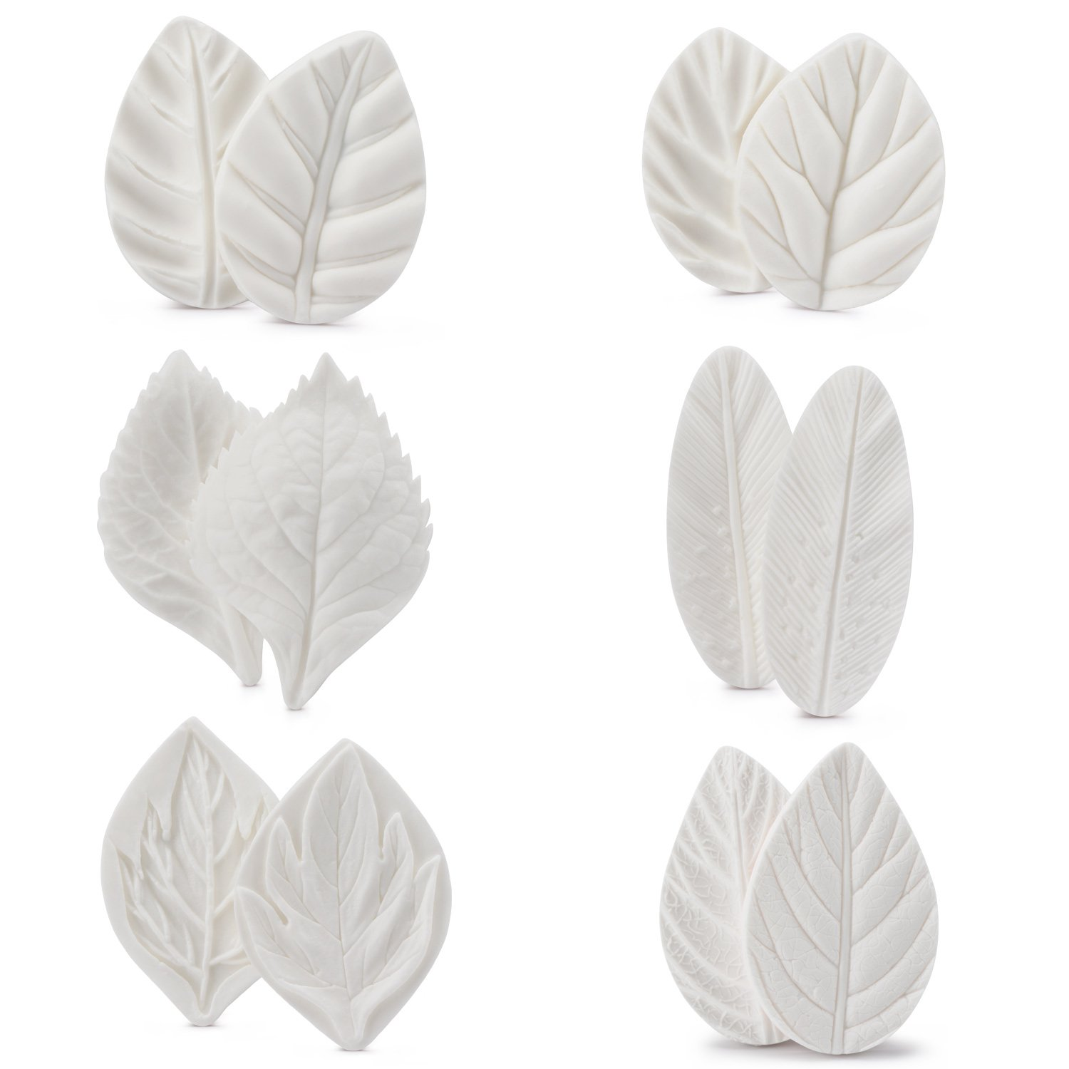 Leaf Fondant Mold Set, Beasea 6 Sets Leaf Press Mold Styling Chocolate Sugar Cookie Cutter Set Silicone Mould Kit Cake Fimo