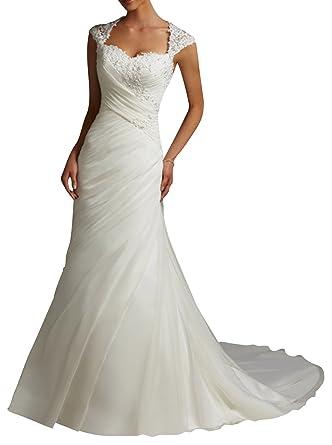 DAPENEreg Womens Lace Mermaid Cap Sleeve Bridal Wedding Dress