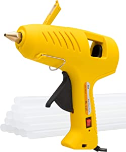 KMC Hot Glue Gun with LED Light, 60/100W Full Size Dual Power Rapid Heating Technology, 16 Pcs Transparent Glue Gun Sticks for Arts & Crafts, DIY, Christmas Decoration/Gifts, Sealing and Quick Repair