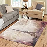 Cheap InterestPrint Abstract Art of Eiffel Tower in Paris Area Rug 7 x 5 Feet, Brown Old Paper Postcard on Canvas Modern Carpet Floor Rugs Mat for Children Kids Home Living Dining Playroom Room Decoration
