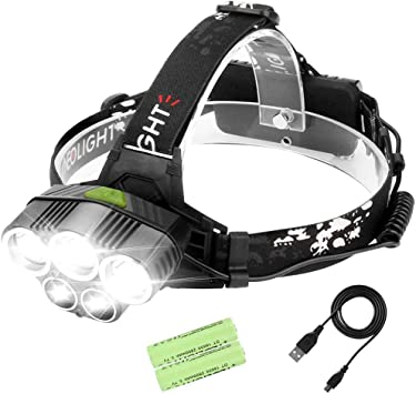 Laluztop Rechargeable LED Headlamp Flashlight 8 Lighting Modes Head Lamp for Camping Running Hiking Reading Fishing Neolight Brightest Waterproof Headlight with White /& Warm White and Red Lights