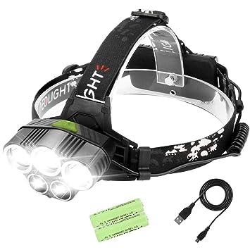 Laluztop Linterna Frontal Alta Potencia Luz Frontal Led Recargable 6 Modo de Luz 5 LED Súper Brillante Impermeable Frontal Luz para ...