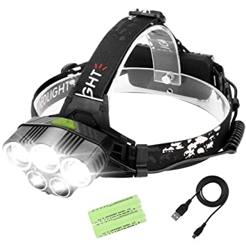 872f560d4 Laluztop Linterna Frontal Alta Potencia Luz Frontal Led Recargable 6 Modo  de Luz 5 LED Súper