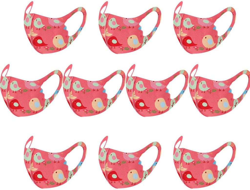 10PCS Ship from UK Auifor Childrens Reusable Washable Cute Animal Printed Dustproof Half Bandana Anti Particles Fabric for Outdoor Activities