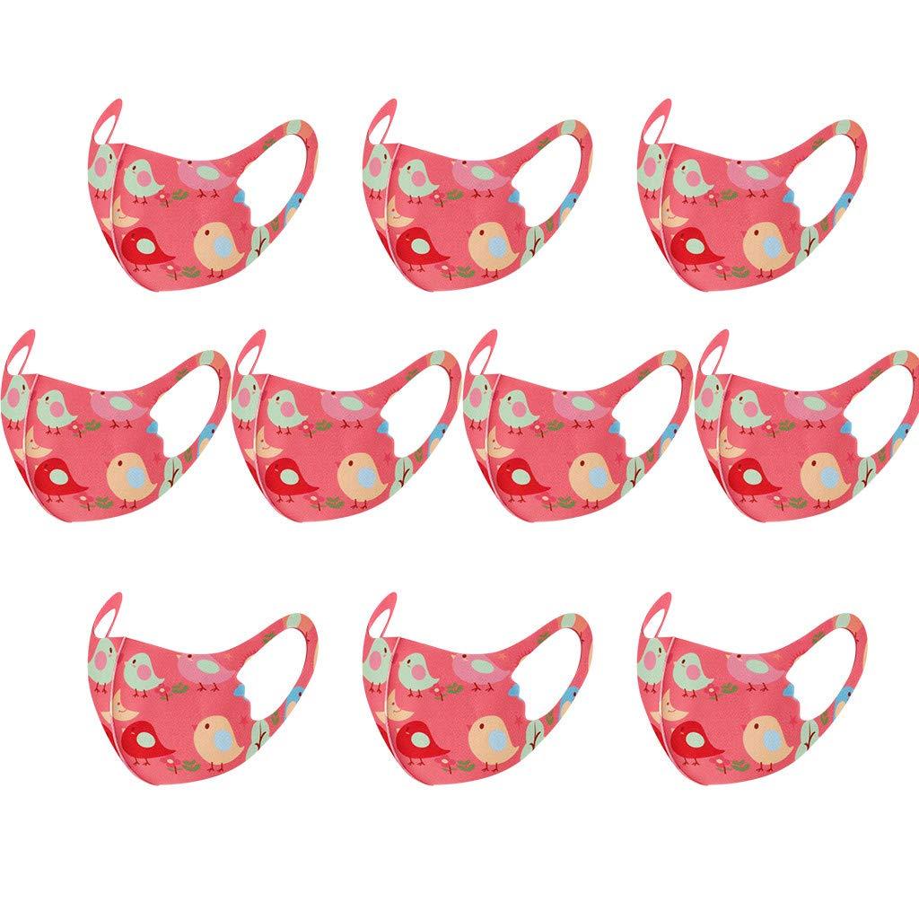 10Pcs Ni/ños Unisex Impresi/ón de dibujos animados Reutilizable Lavable Cubierta facial A prueba de polvo Protecci/ón c/álida Bandanas faciales Transpirable Ajustable Regreso a la escuela