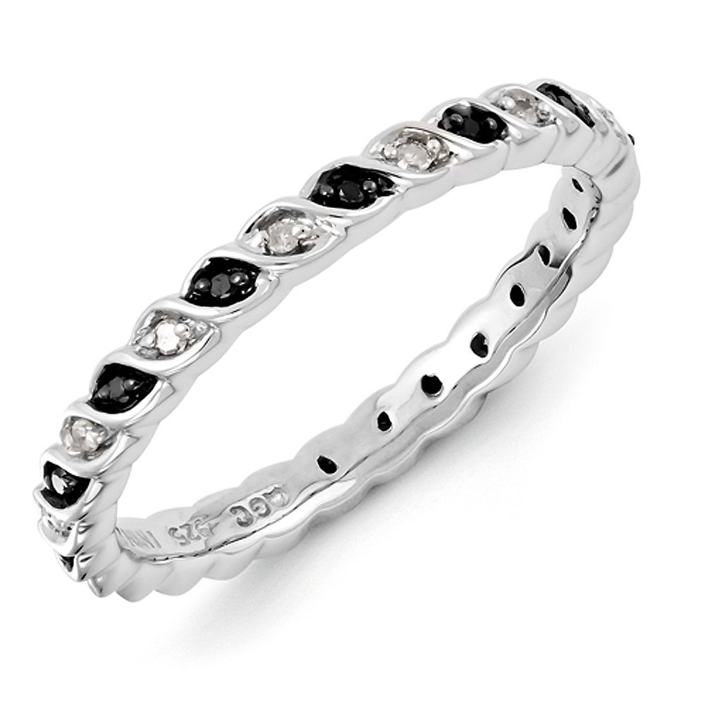 2.25mm Sterling Silver Swirl Black and White Diamond Prong Set Eternity Anniversary Ring Band - Size 7