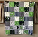 Personalized Navy Blue and Green Safari Baby Boy Quilt - Crib Size - Giraffes - Zebras - Elephants