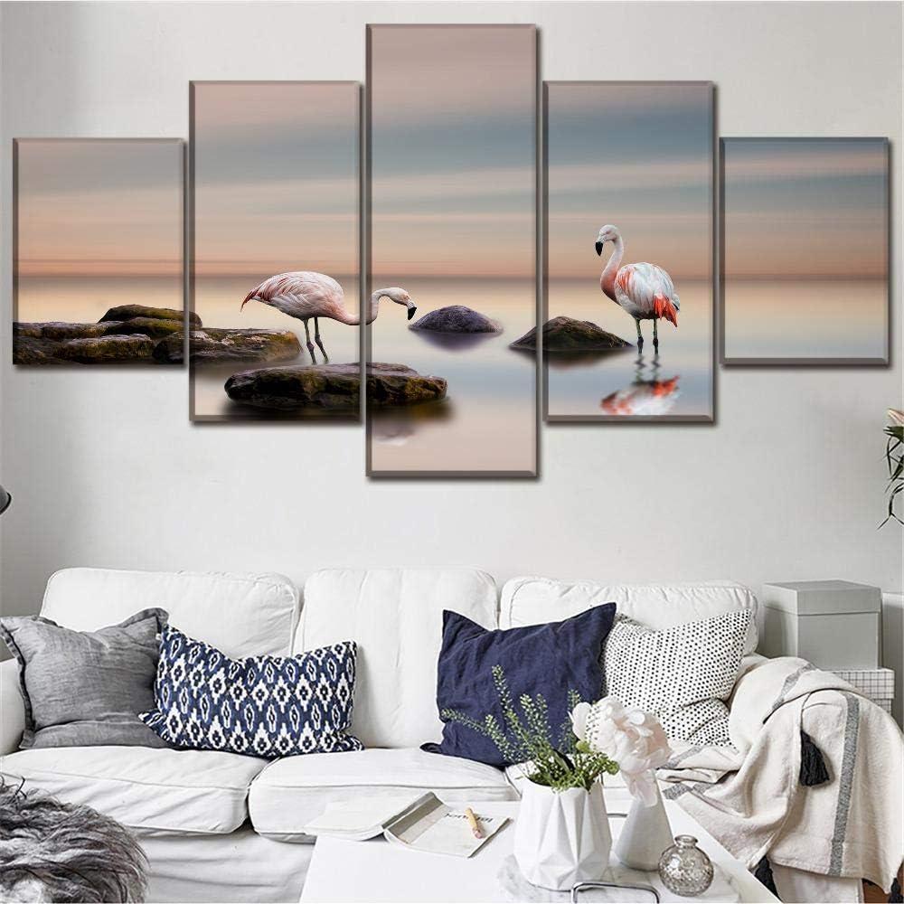 Ssckll Toile HD Imprime Accueil D/écoratif 5 Pi/èces Peinture Flamants Roses Art Mural Bureau Modulaire /Étude Bureau Images Affiche-Encadrer