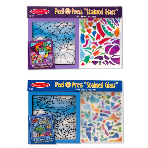 Melissa & Doug Peel and Press Stained Glass Activity Kits Set: Rainbow Garden and Undersea Fantasy - 180+ Stickers, 2 Frames