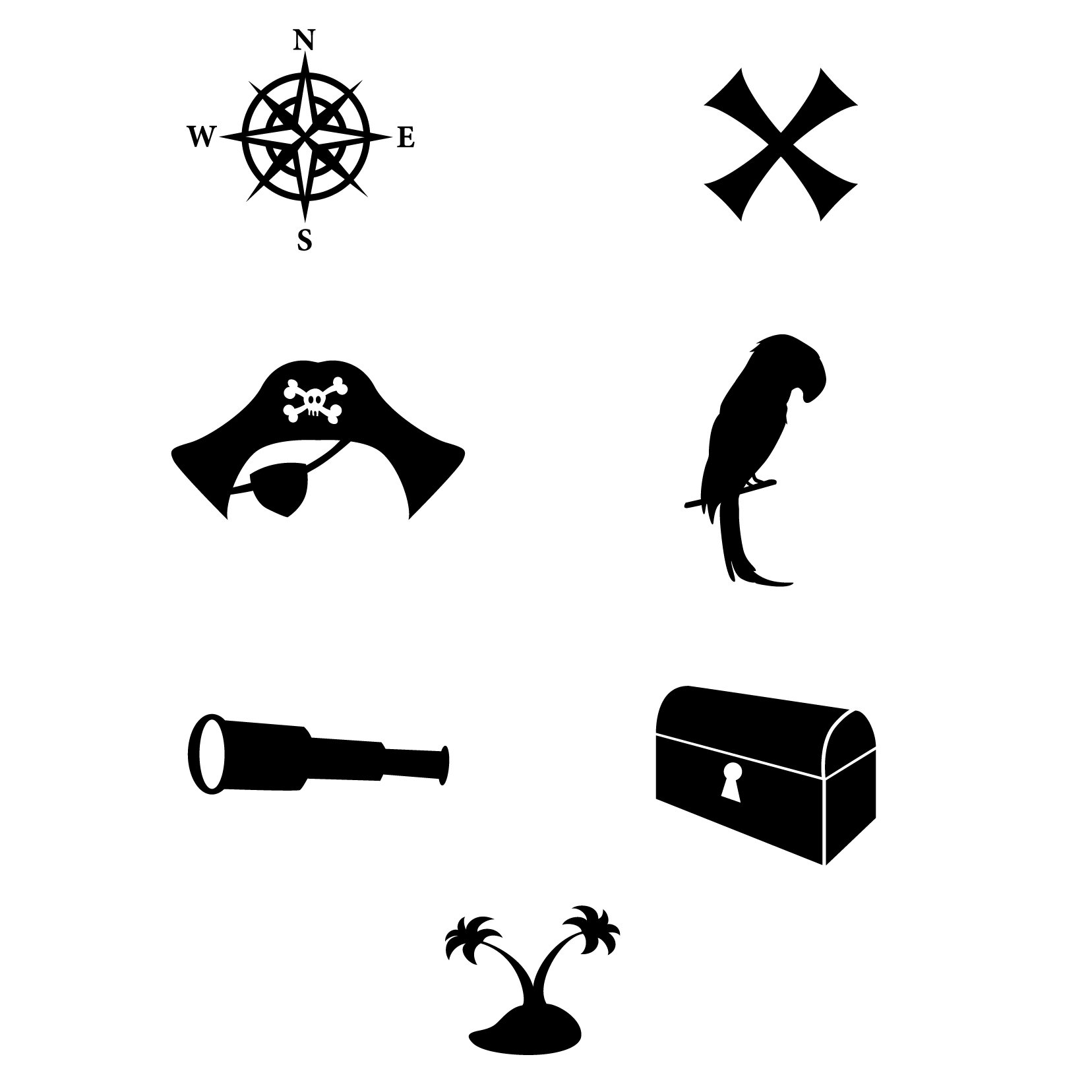 Pirate Pattern Repeatable Icons - 5 sets, 35 icons, Black - Vinyl Wall Art Decal for Homes, Offices, Kids Rooms, Nurseries, Schools, High Schools, Colleges, Universities, Interior Designers, Architects, Remodelers