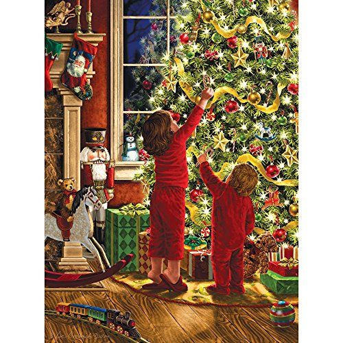 Bits and Pieces - 300 Large Piece Glitter Jigsaw Puzzle for Adults - Children Decorating the Christmas Tree by Artist Liz Goodrick Dillon - Family Holiday Fun - 300 pc Jigsaw