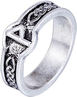 Skyrim Antico Stile Punk retrò Maschio Vichingo Gotico Nero amuleto Norse Rune Anelli per Donne (Misura 8)