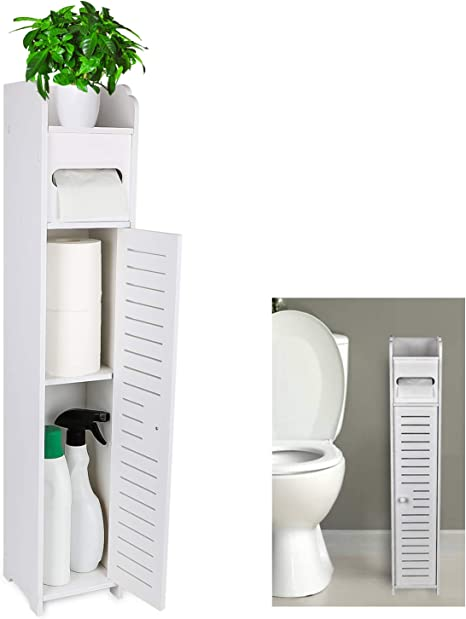 White Bathroom Narrow Floor Cabinet Toilet Storage Organizer Rack w// Paper Roll