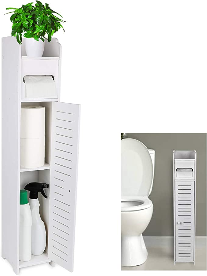 Gotega Small Bathroom Storage Toilet Paper Storage Corner Floor Cabinet With Doors And Shelves Bathroom Organizer Furniture Corner Shelf For Paper Shampoo White Amazon Ca Home Kitchen