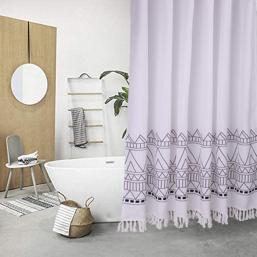 Moi White Tassel Fabric Shower Curtain Bohemian Macrame Stripe Black V Geometry Waterproof Thickening Suit Bathroom Curtain (72 x 72 inch Nordic Style)