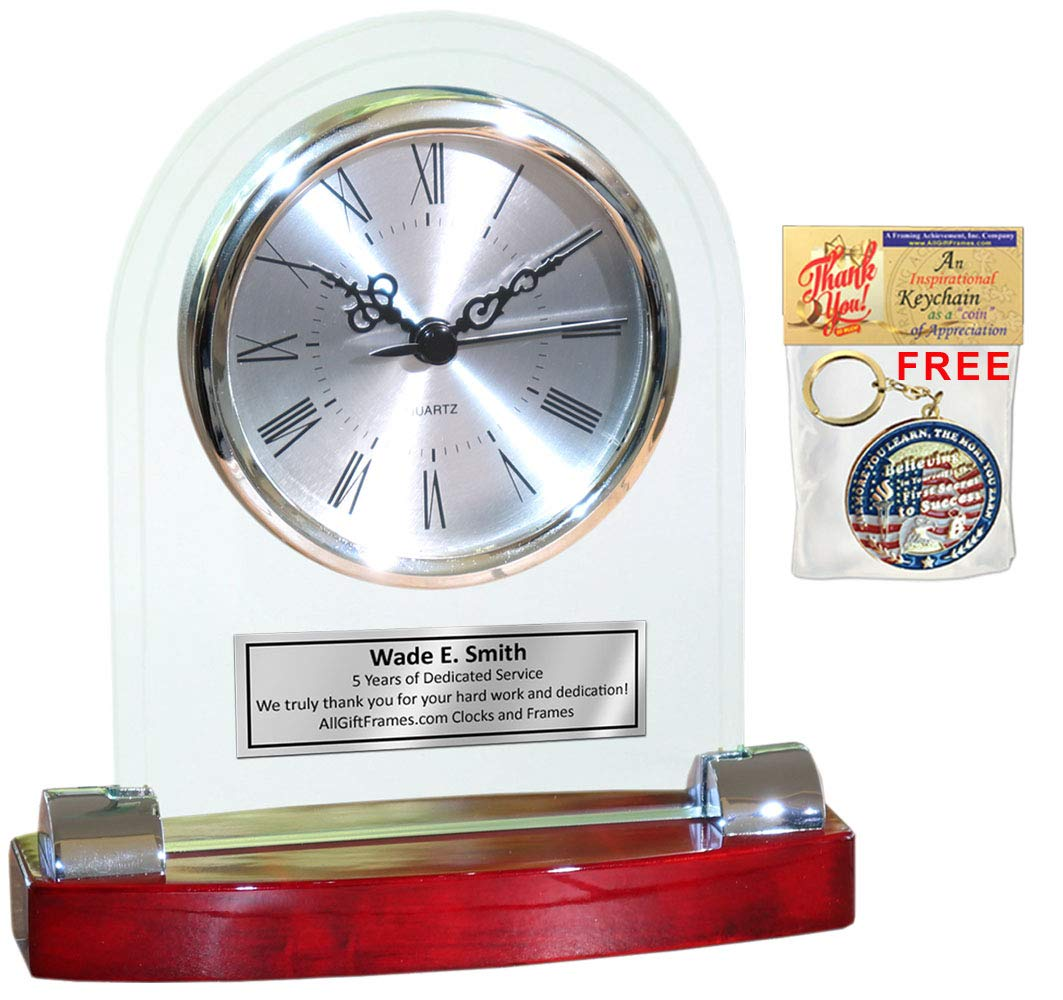 Amazoncom Allgiftframes Personalized Desk Clock Beveled Glass Arch