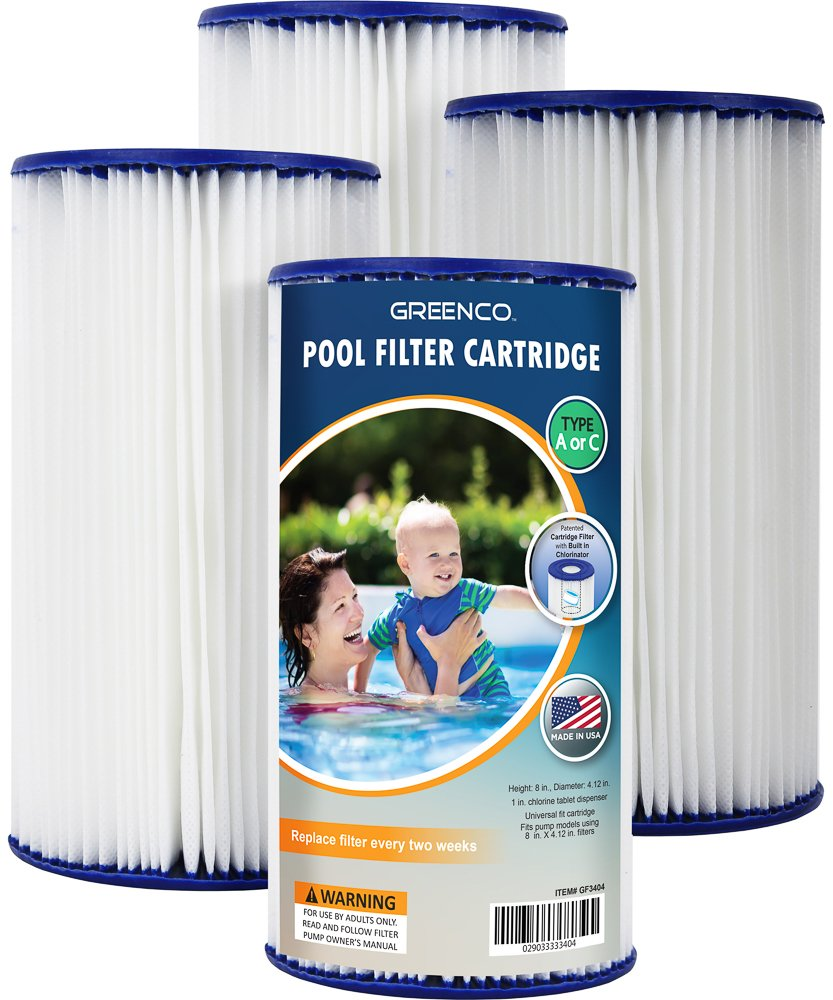 Greenco Pool filter Cartridges Type A or C Replacement with Build-in Chlorinator-Set of 4