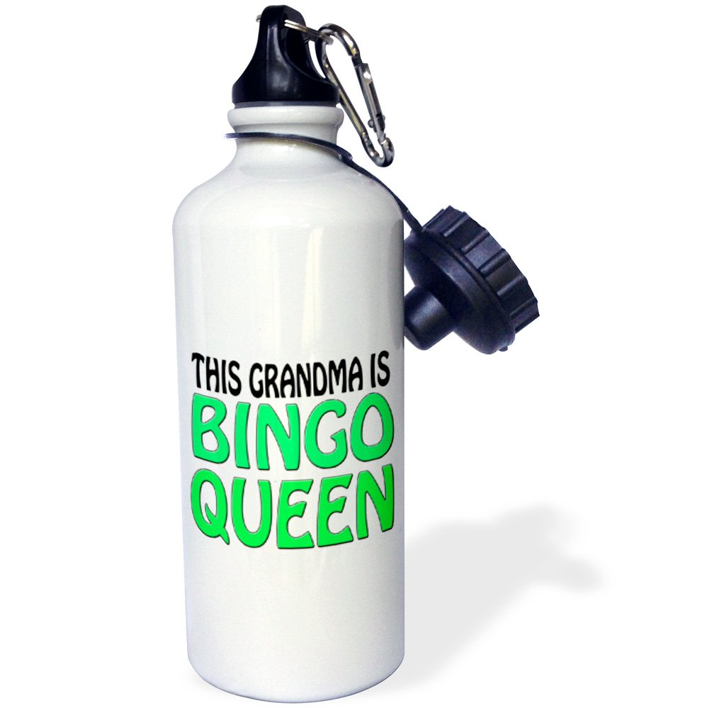 3dRose wb_149772_1 ''This grandma is bingo queen, Lime green, '' Sports Water Bottle, 21 oz, White by 3dRose