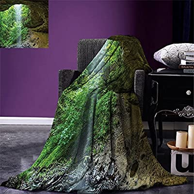 smallbeefly Nature Warm Microfiber All Season Blanket Canyon Michigan Caves Memorial Falls in the Forest Eco Foliage Picture Print Artwork Image,Multicolor, Army and Fern Green: Home & Kitchen