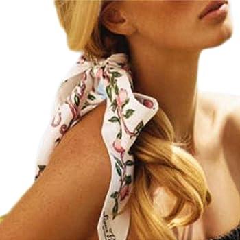 U2BUY Heart Print Silk Scarf Handbag Handle Wrap Ribbon Headband Pink