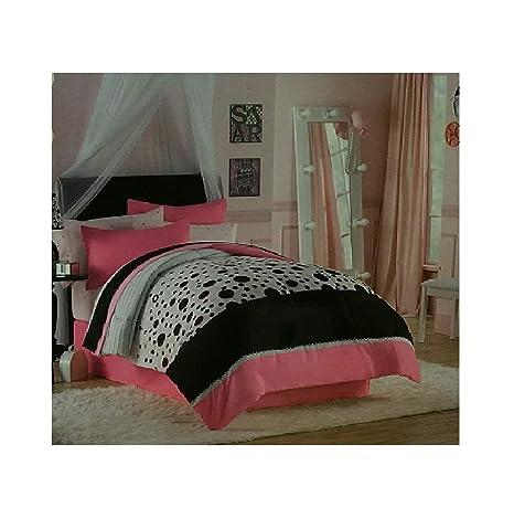 Amazon.com: Dots It Pink and Black Polka Dot 8 Piece ...