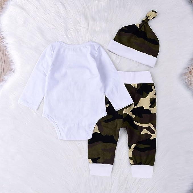 LMMVP 0-18Mois B/éb/é Filles Gar/çons Barboteuse /à imprim/é Letter Combinaison Pantalon de Camouflage Ensembles