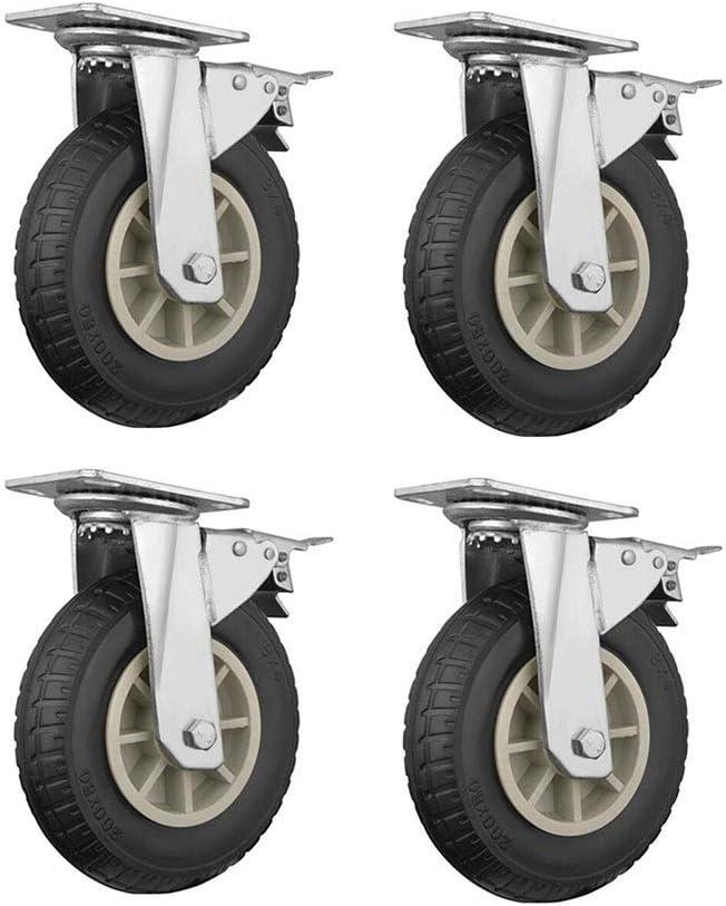 Color : Brake, Size : 8 inch 4 pieces MUMA Universal Wheel Heavy Industrial Wheel 5//6//8 Inch Furniture Table Wheel Push Wheel Rubber Casters Silent Wheel