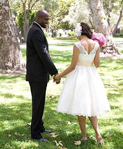 Bezaubern Heiß Ballkleid Weiß Knielänge Hochzeitskleid Ausschnitt V Ballkleid Party Kleider Übergröße Brautkleid CoCogirls Spitze wTd0Rxqw6