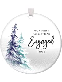 1st Christmas Engaged Ornament 2019 Engagement Party Gifts for Couple, First Xmas as Fiance Fiancee Man Woman Gay Present...