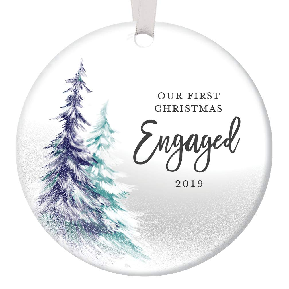 Christmas Gifts For Women 2019.1st Christmas Engaged Ornament 2019 Engagement Party Gifts For Couple First Xmas As Fiance Fiancee Man Woman Gay Present Idea Ceramic Keepsake 3