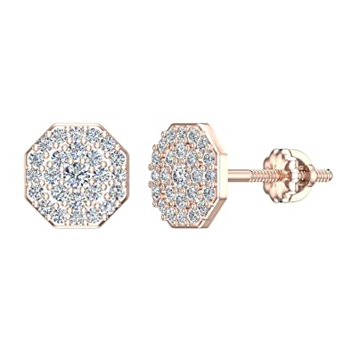 6dbdc5a9e Amazon.com: Diamond Earrings Hexagon Shape Cluster Studs 18K Rose Gold -  Screw Back Posts (0.50 carat total): Jewelry