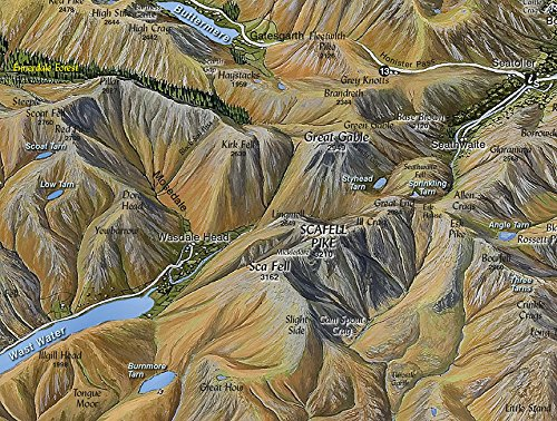 The Fir Tree Aerial Map of The Lake District Flat A2 laminated
