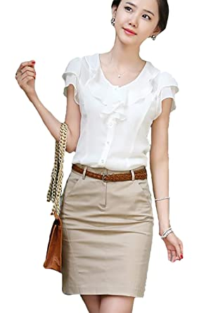ed410a4db3 Comvison Women Summer T Shirt Short Sleeve Tops Ol Business Attire Office  Lady Wear