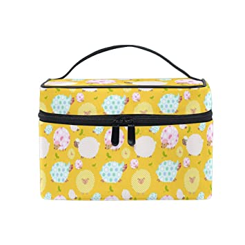 48aca58a174d Amazon.com   Makeup Bag Yellow Sheep Polka Dot Travel Cosmetic Bags  Organizer Train Case Toiletry Make Up Pouch   Beauty
