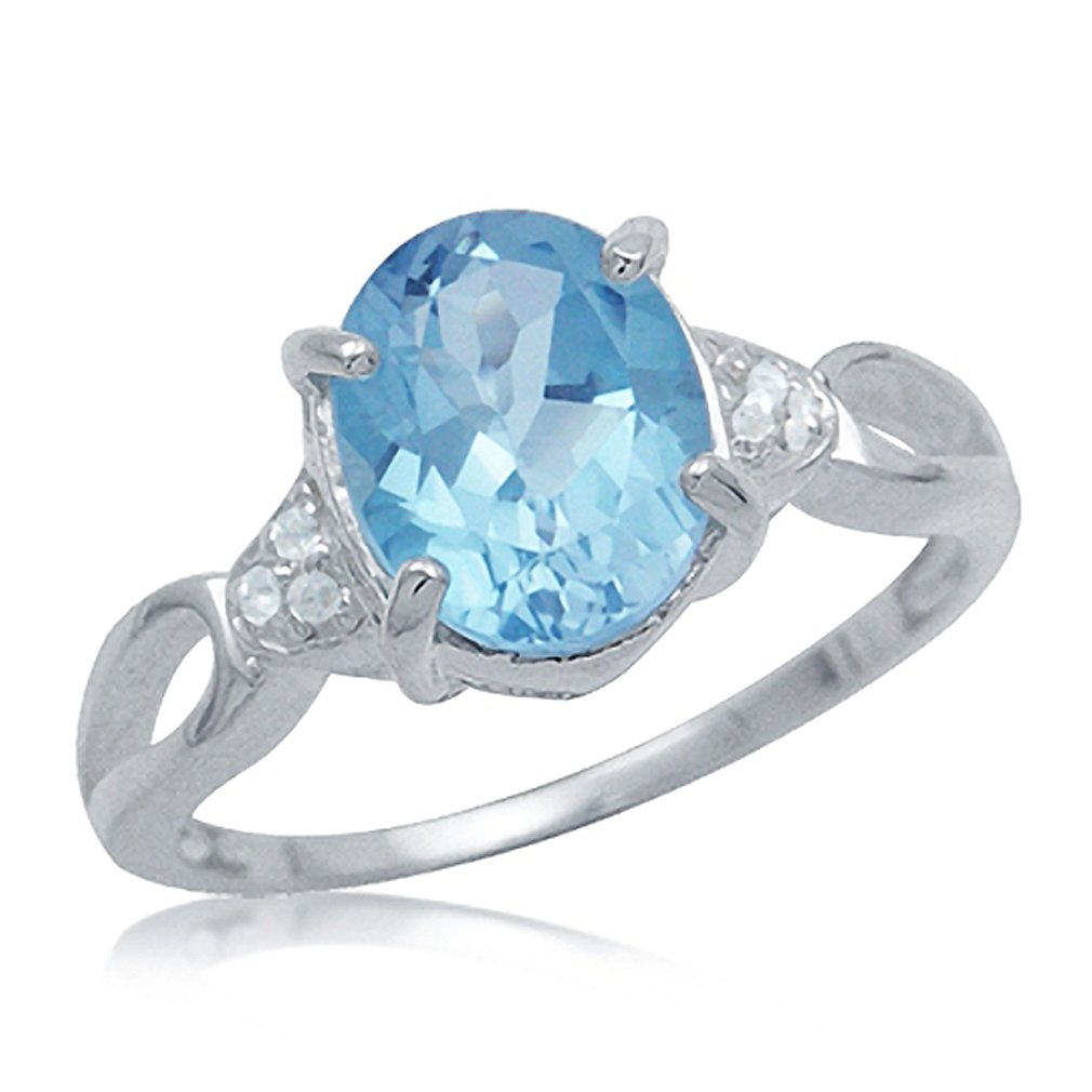Genuine Blue and White Topaz 925 Sterling Silver Cocktail Ring Silvershake 3.34ct