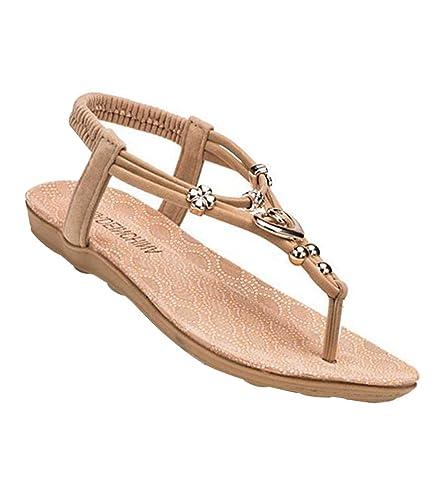 a29ee498f28c YOUJIA Women s Metal Ornaments Elegant T-Strap Bohemia Sandals Summer Flip  Flops Flat Shoes Thongs