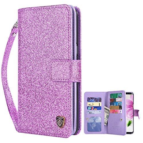 S8 Plus Case Samsung Galaxy S8 Plus Case BENTOBEN Glitter Bling Bling Faux Leather Flip Credit Card Holder Wristlet Shockproof Protective Wallet Case for Girls(6.2 Inch) Purple