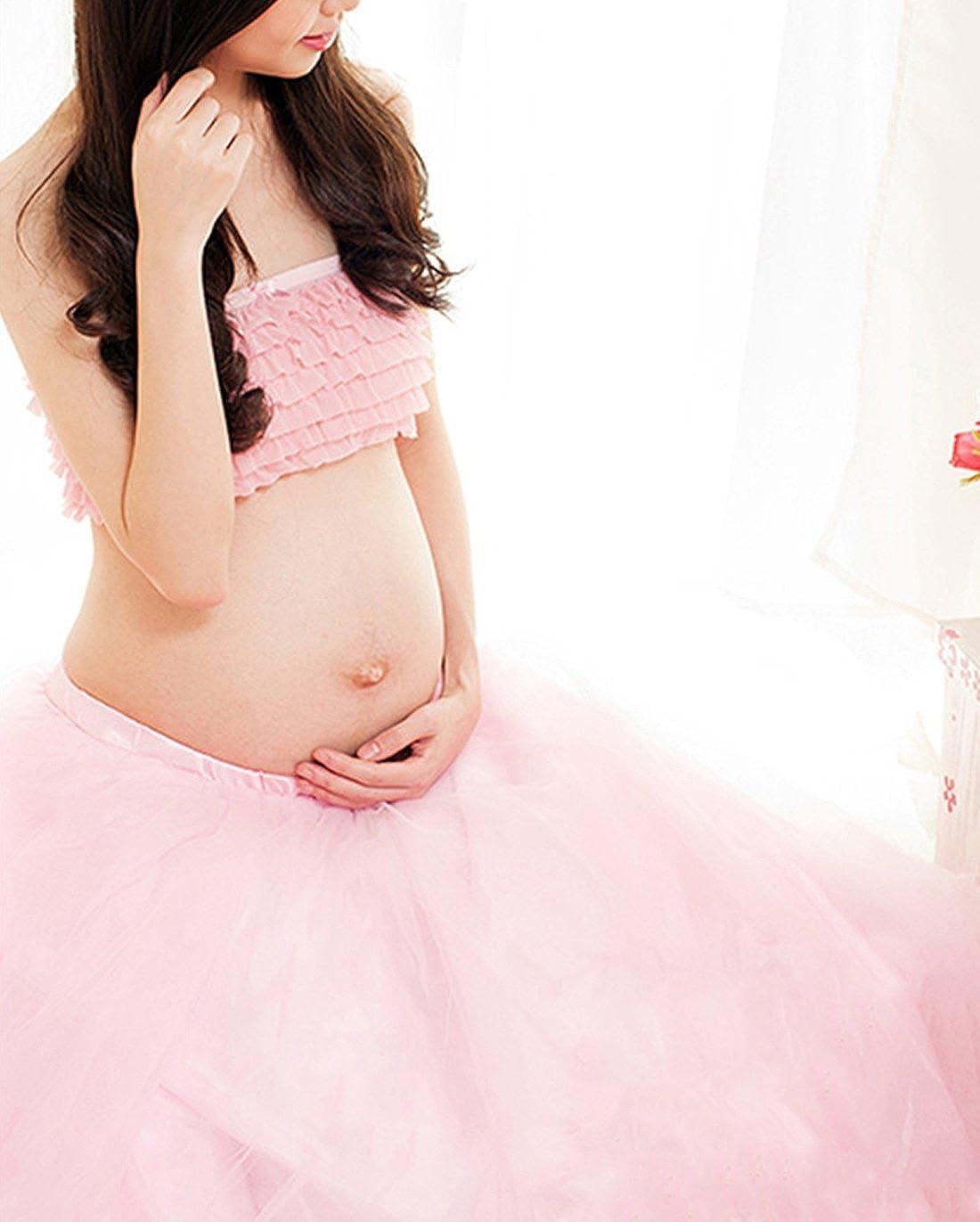 Happy Cherry - Traje de 2 Piezas Ropa Fotos Embarazada Disfraz Pre-mamá Maternity Dress Ruffle Falda Fotografía + Top - Rosa: Amazon.es: Ropa y accesorios