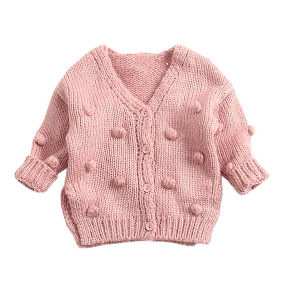 Toddler Newborn Baby Boys Girls Pompoms Soft Cardigan Sweater Kids Warm Knitted Pullover Tops Winter Clothes