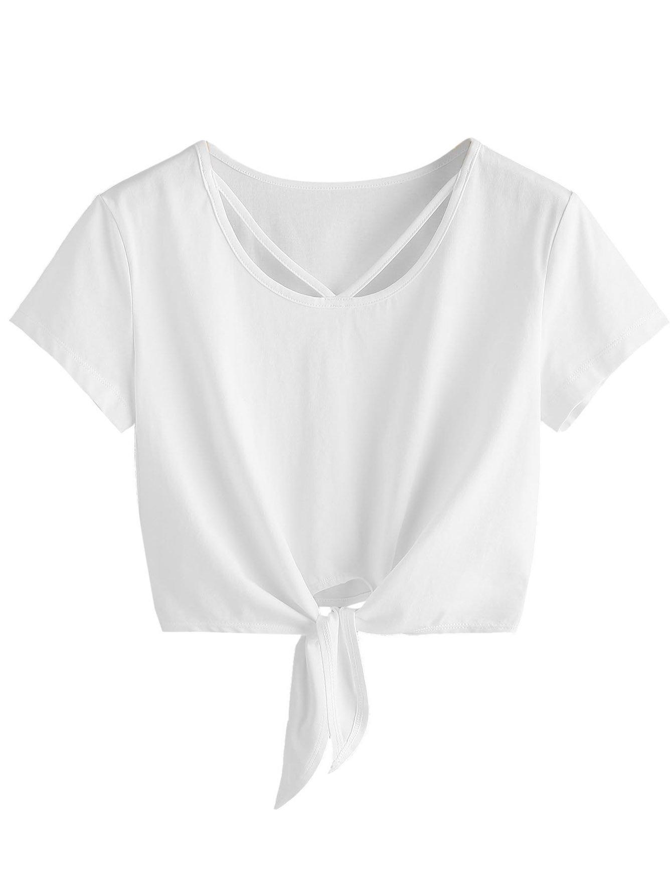 SweatyRocks Women's Loose Short Sleeve Summer Crop T-shirt Tops Blouse White#5 S