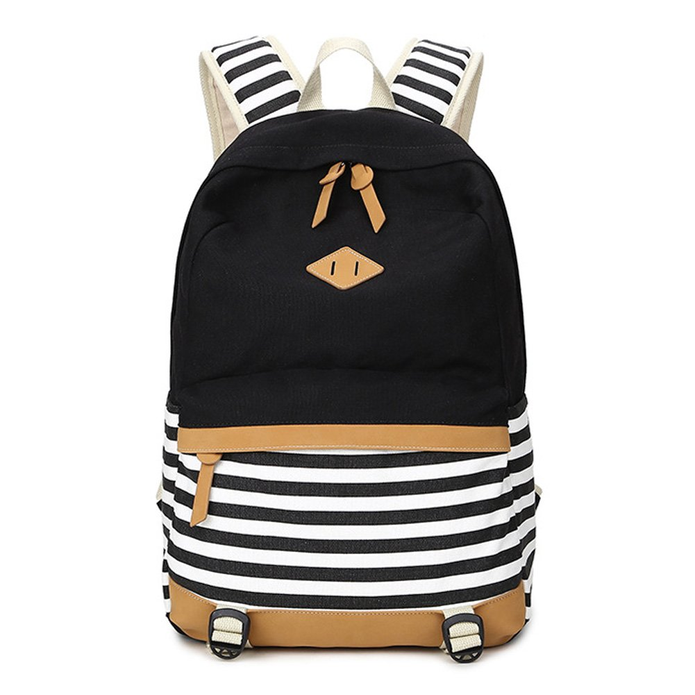 Abshoo Lightweight Canvas Backpacks for Girls School Rucksack Women College Bookbags (Black)
