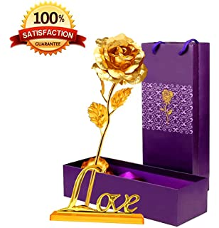 24K Golden Foil Rose10 Shinny Rose With LOVE BaseGift Idea