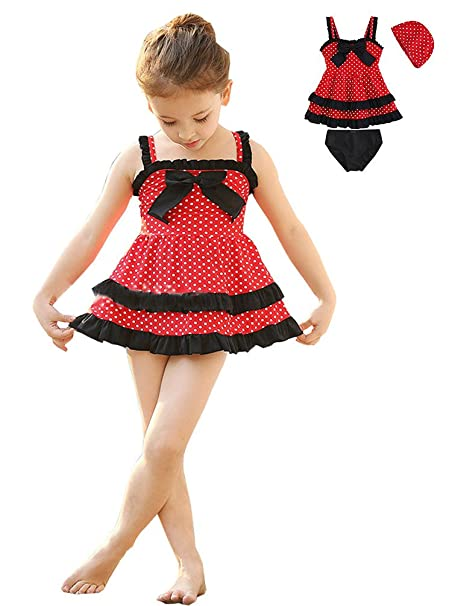b2a527278 Amazon.com: Maleroads Kid Toddler Baby Girls Bathing Suit Lace Bow Dot 3 Pieces  Swimsuit Swimwear: Clothing
