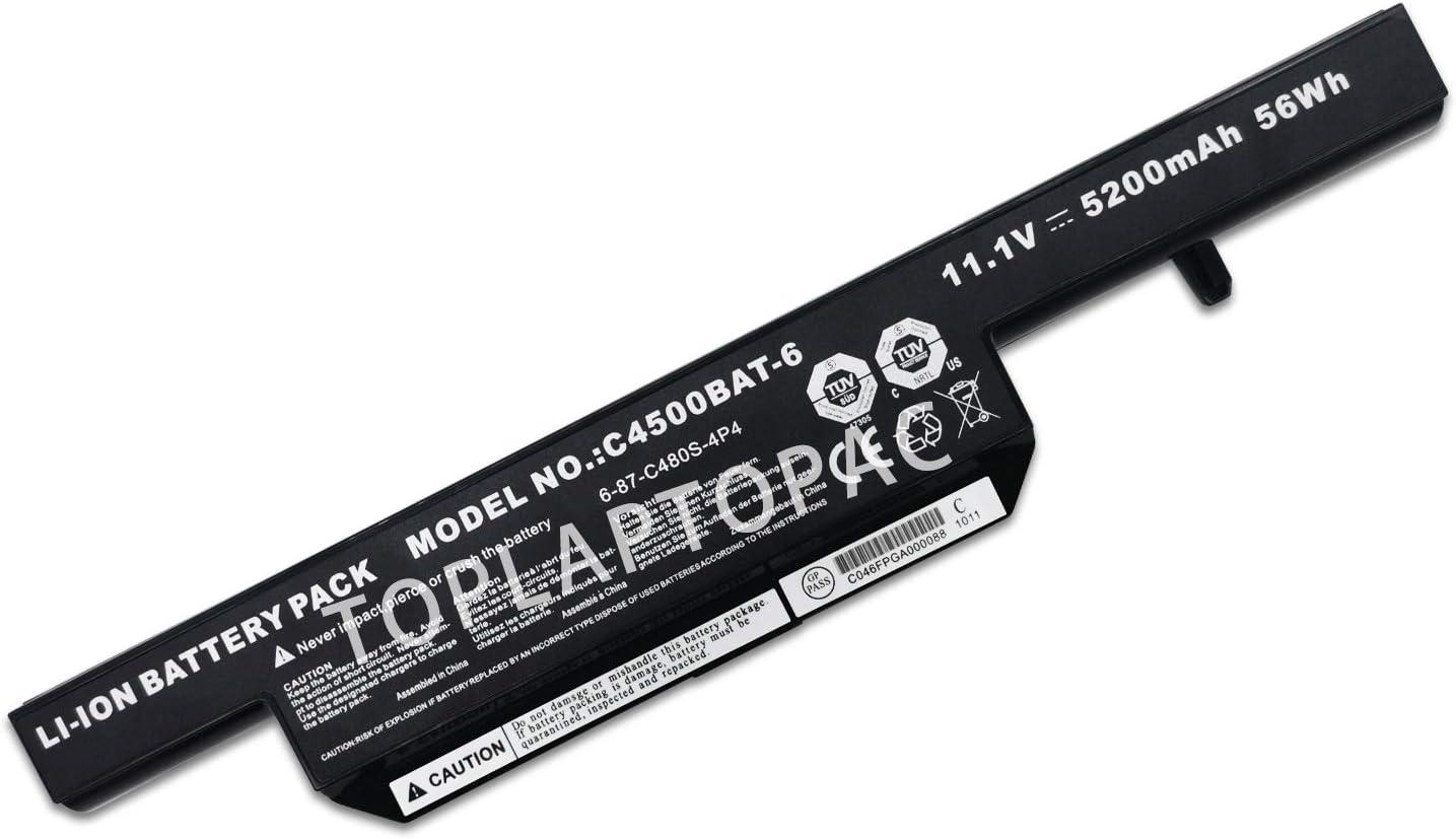 ELESKY New 11.1V 4400mAh/48Wh 6CELL Laptop Battery Compatible with Clevo C4500 C4501 C4505 W150 W170 B5130m C4500bat-6 B4100m B4105 6-87-C480S-4P4