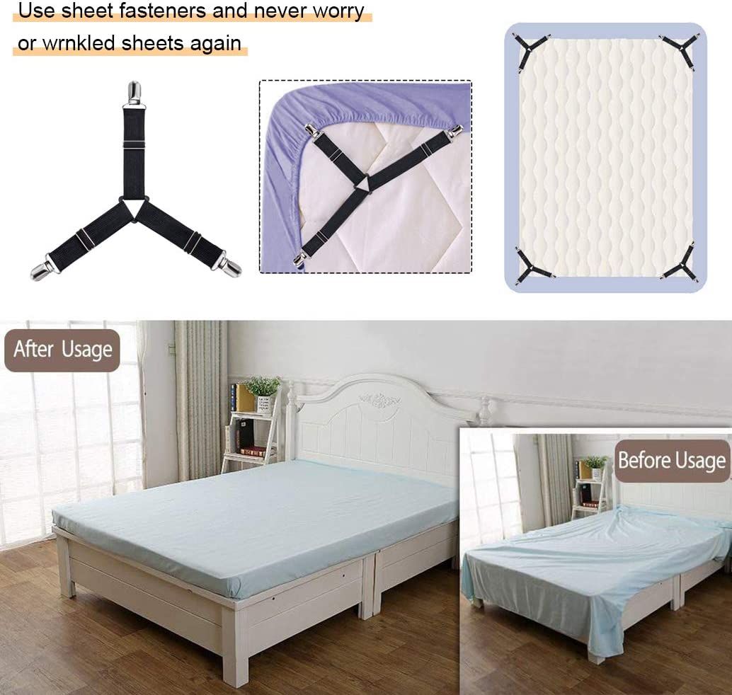 QoeCycth Bed Sheet Holder Straps, 4Pcs Adjustable Triangle Mattress Corner Clips, Elastic Fitted Bed Sheet Fastener Suspenders Grippers Heavy Duty for All Bed Sheets, Mattress Covers, Sofa Cushion: Home & Kitchen