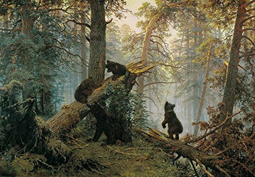 Pine Forest Bear - Wall26 - Morning in a Pine Forest (Bears Playing on a Fallen Tree) by Ivan Shishkin - Russian Realist Painter - Peel and Stick Large Wall Mural, Removable Wallpaper - 100x144 inches
