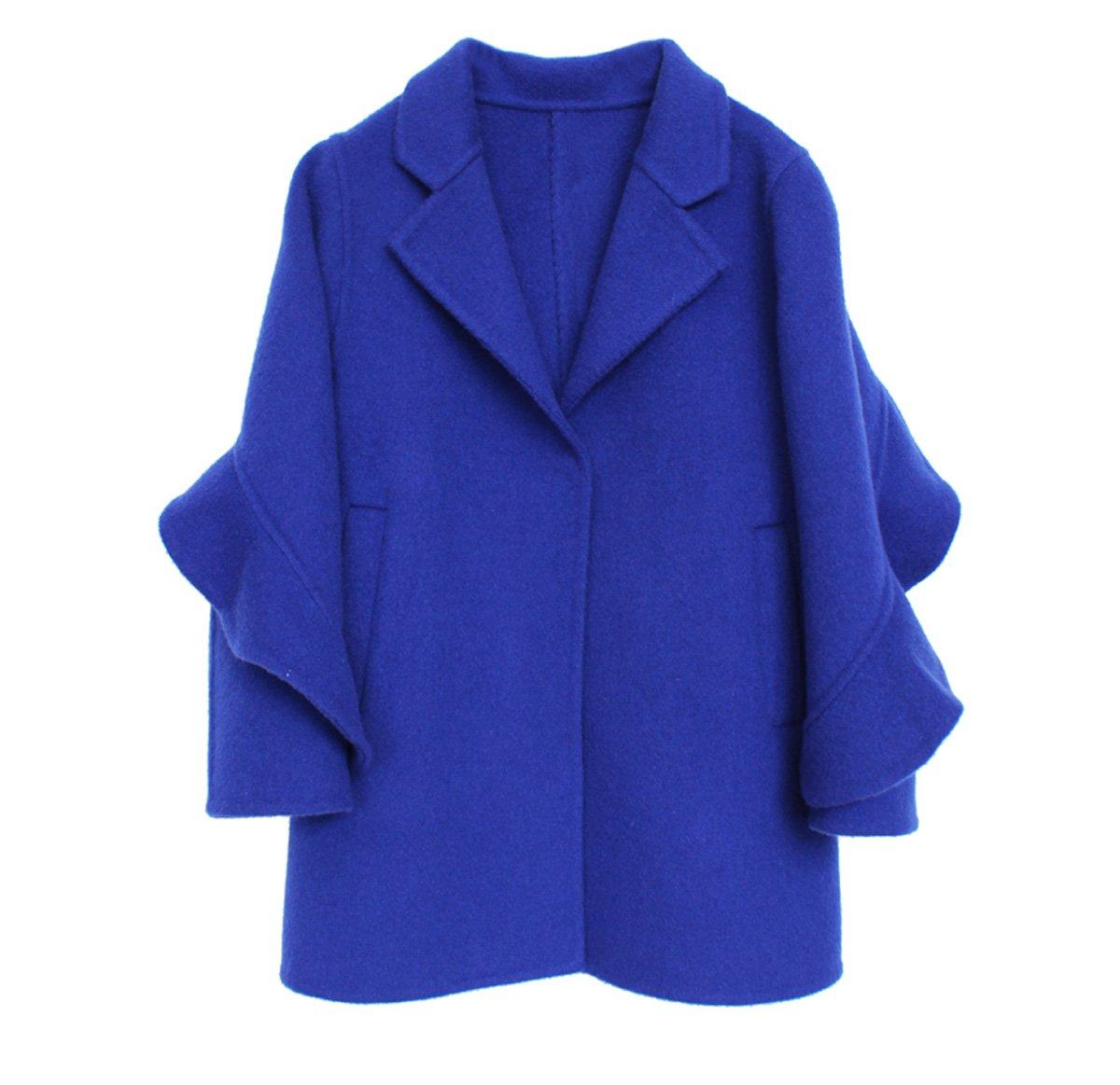 Girls Handmade Coat mid-length Woolen Overcoat Blue