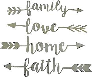 Zeckos Shabby Chic Family Love Home and Faith 4 Piece Wall Arrow Set