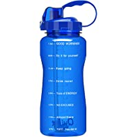 QuiFit Half Gallon(64 Oz) Water Bottle - with Straw & Motivational Time Marker BPA Free Large Water Jug Leak-Proof…